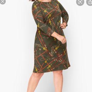 TALBOTS PETITE EQUESTRIAN PRINT SHIFT DRESS